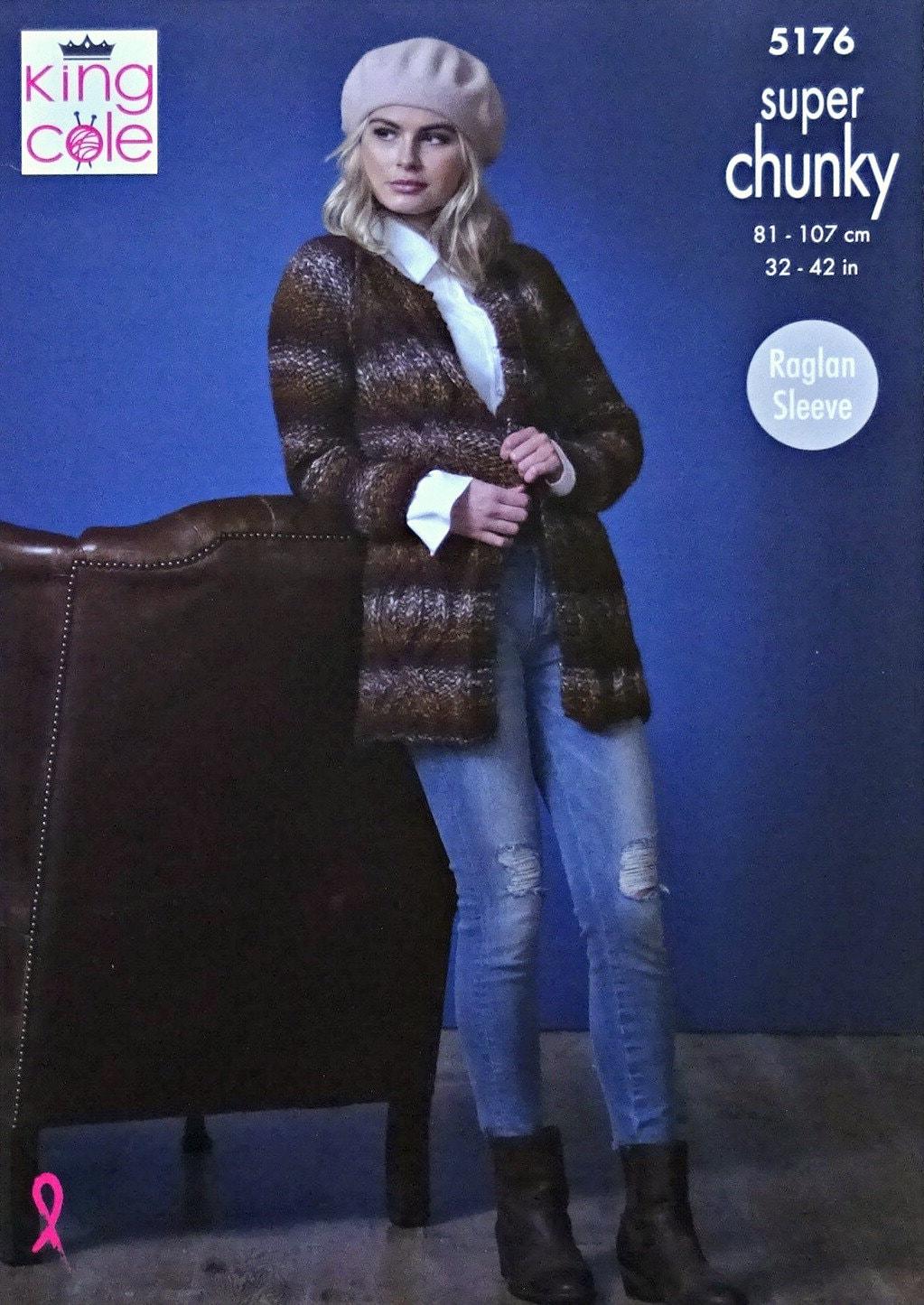 King Cole 5176 Knitting Pattern Womens Raglan Jackets in Orbit Super Chunky