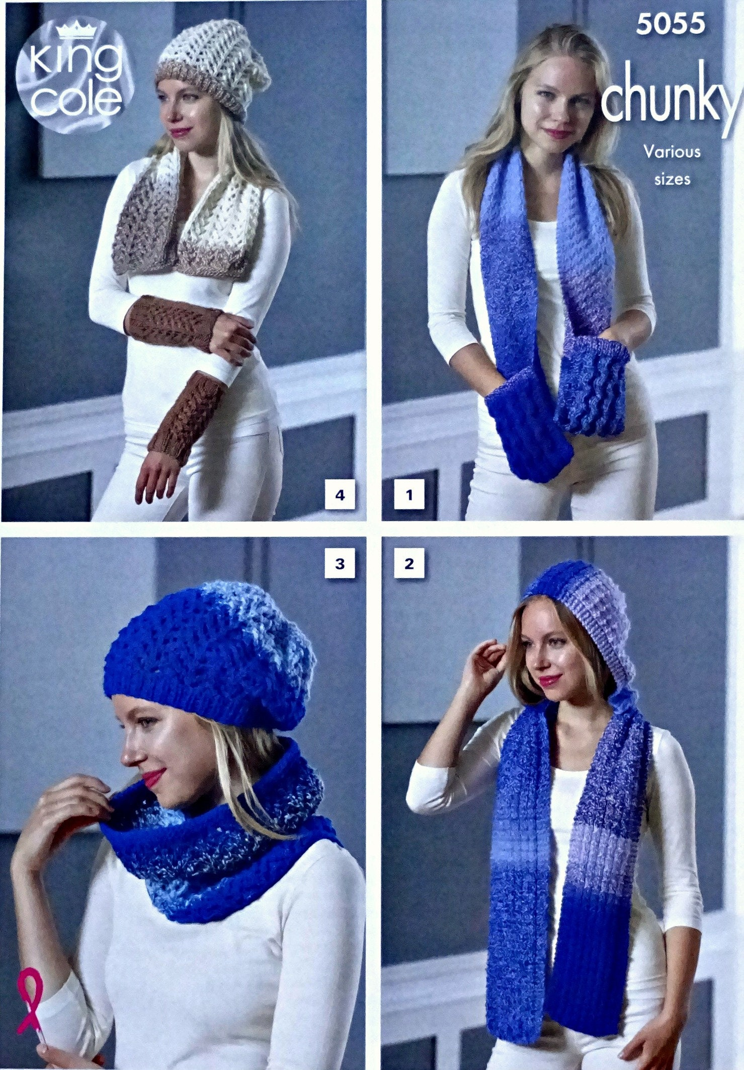 Womens Knitting Pattern K5055 Ladies Scarf With Pockets