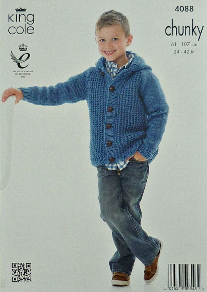 c599f5437 Childrens Knitting Pattern K4088 Boys Mens Long Sleeve Round ...