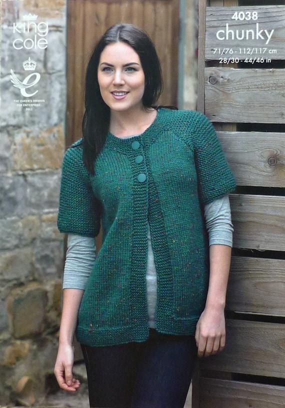 Womens Knitting Pattern K4038 Ladies Short Sleeve Jacket Easy Knit