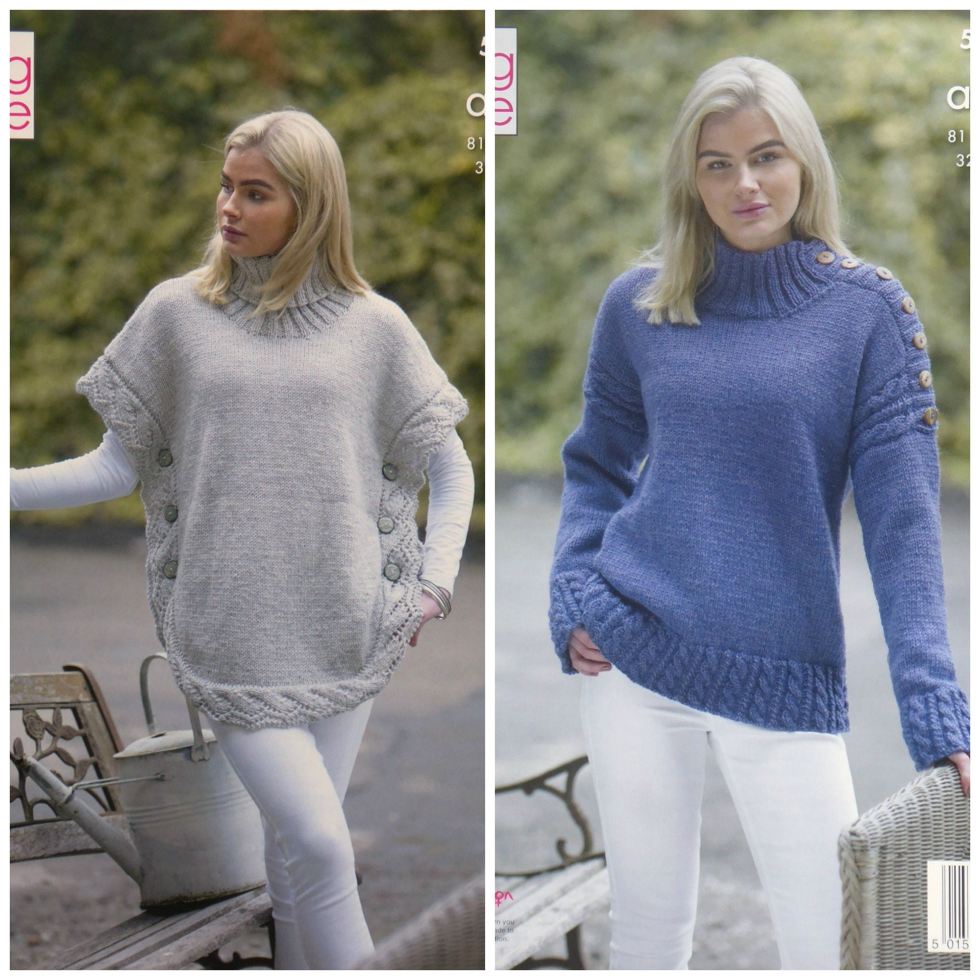 Womens Knitting Pattern K5154 Ladies Cable Lace Polo Neck Poncho and ...