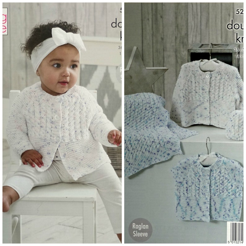 7f9c32f71 Babys Knitting Pattern K5204 Babies Cable Cardigans Hat and