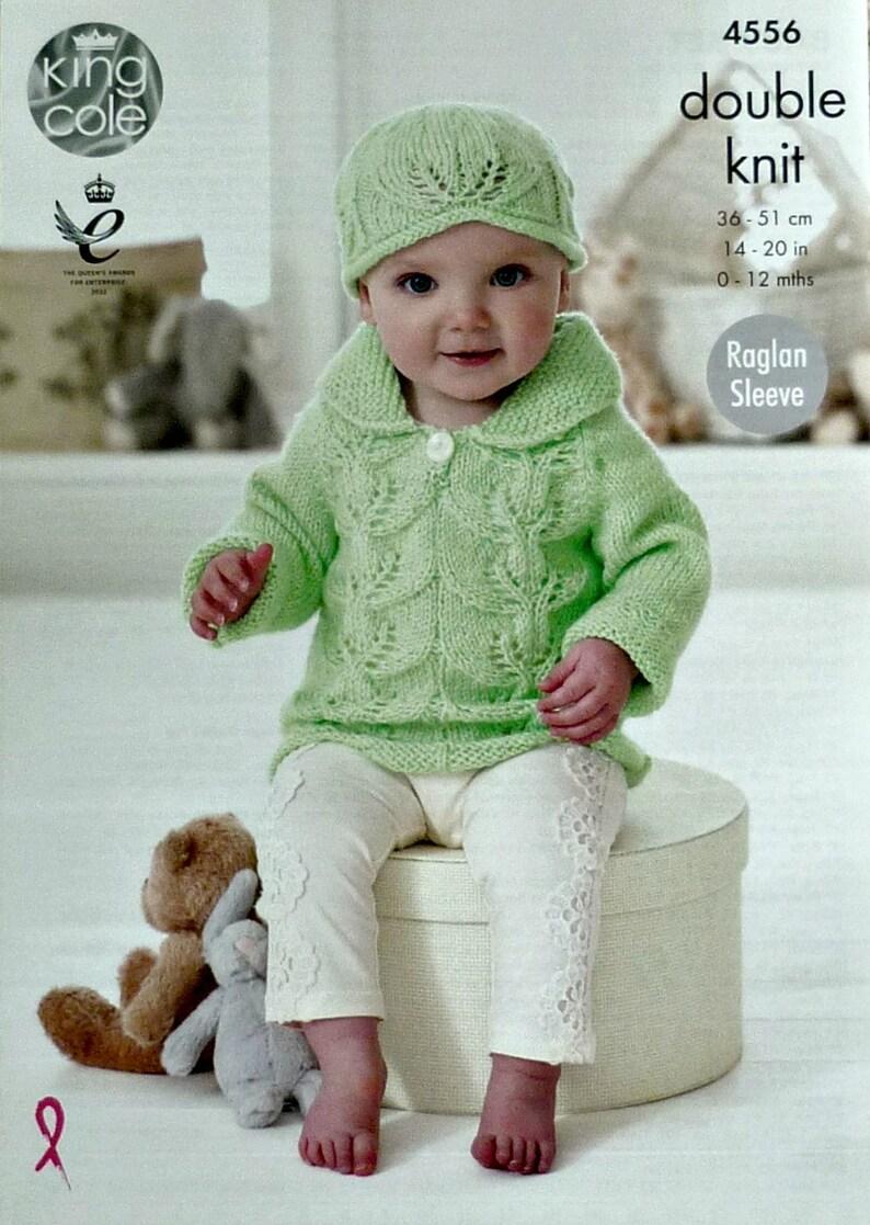 321459a19 Baby Knitting Pattern K4556 Babies Leaf Pattern Dress