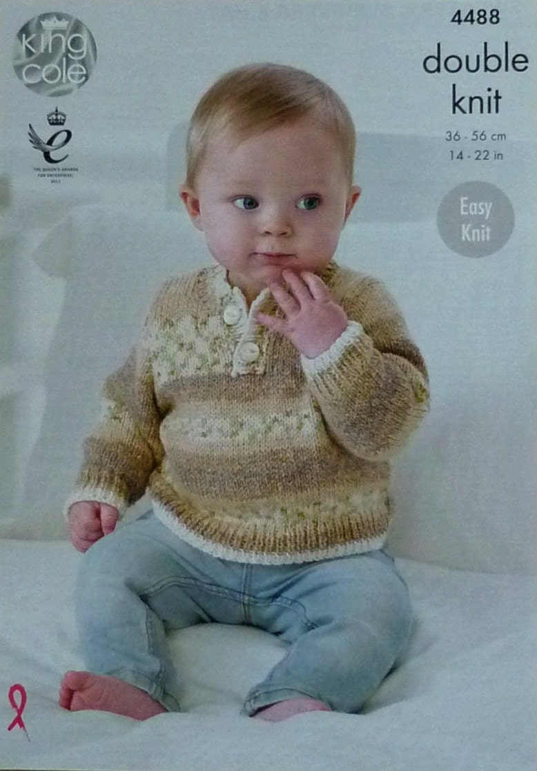 Baby Knitting Pattern K4488 Babies Easy Knit Button Neck ...
