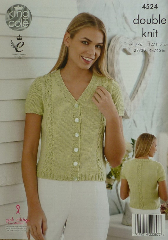 Frauen stricken Muster K4524 Damen kurze Ärmel Strickjacke mit   Etsy