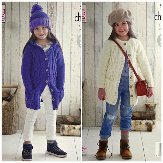 Double Knitting Pattern Baby Hooded or Round Neck Long Sleeve Cardigan UKHKA 173