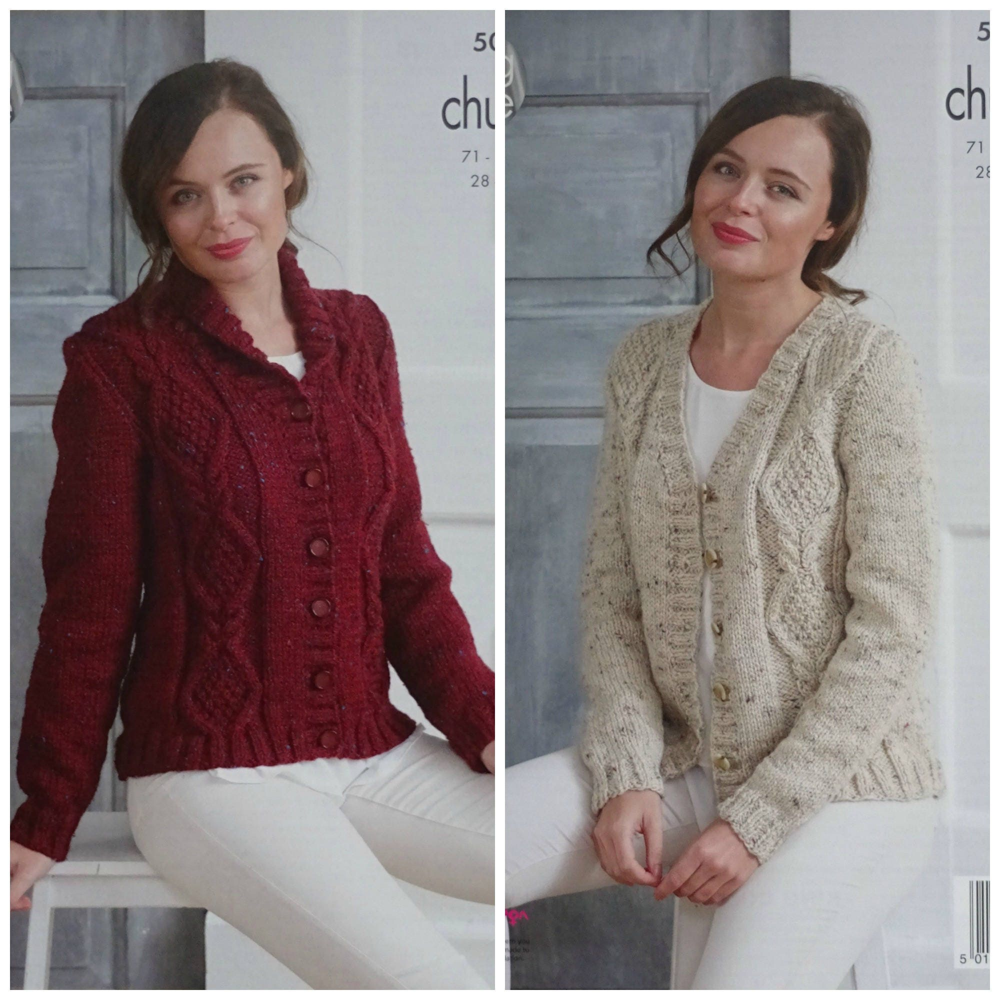 Womens Knitting Pattern K5014 Ladies Roll Collar Diamond Cable ...