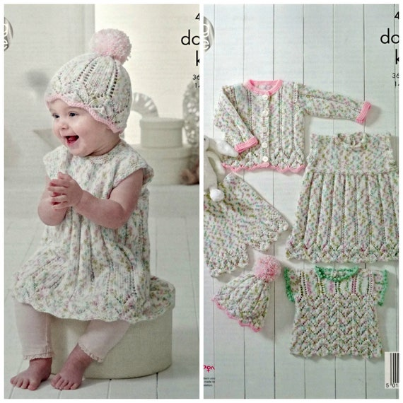 12f00107cedd Baby Knitting Pattern K4900 Baby s Dress Hat Shorts