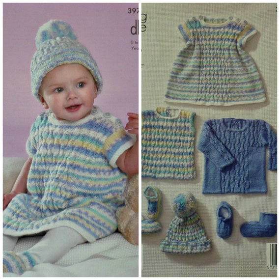 b577f106a045 Baby Knitting Pattern K3970 Babies Jumper Top Dress Hat and