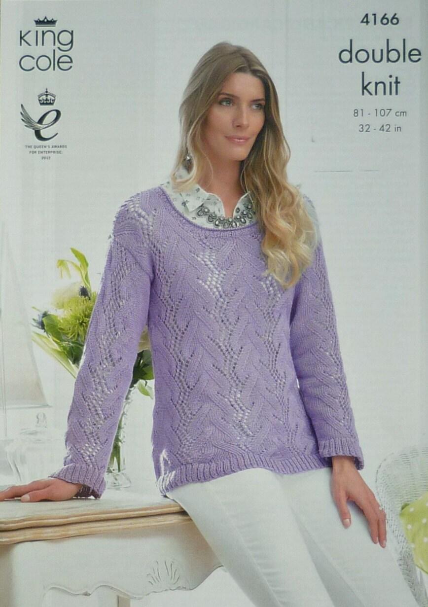 Womens Knitting Pattern K4166 Ladies Long Sleeve Scoop Neck Lace