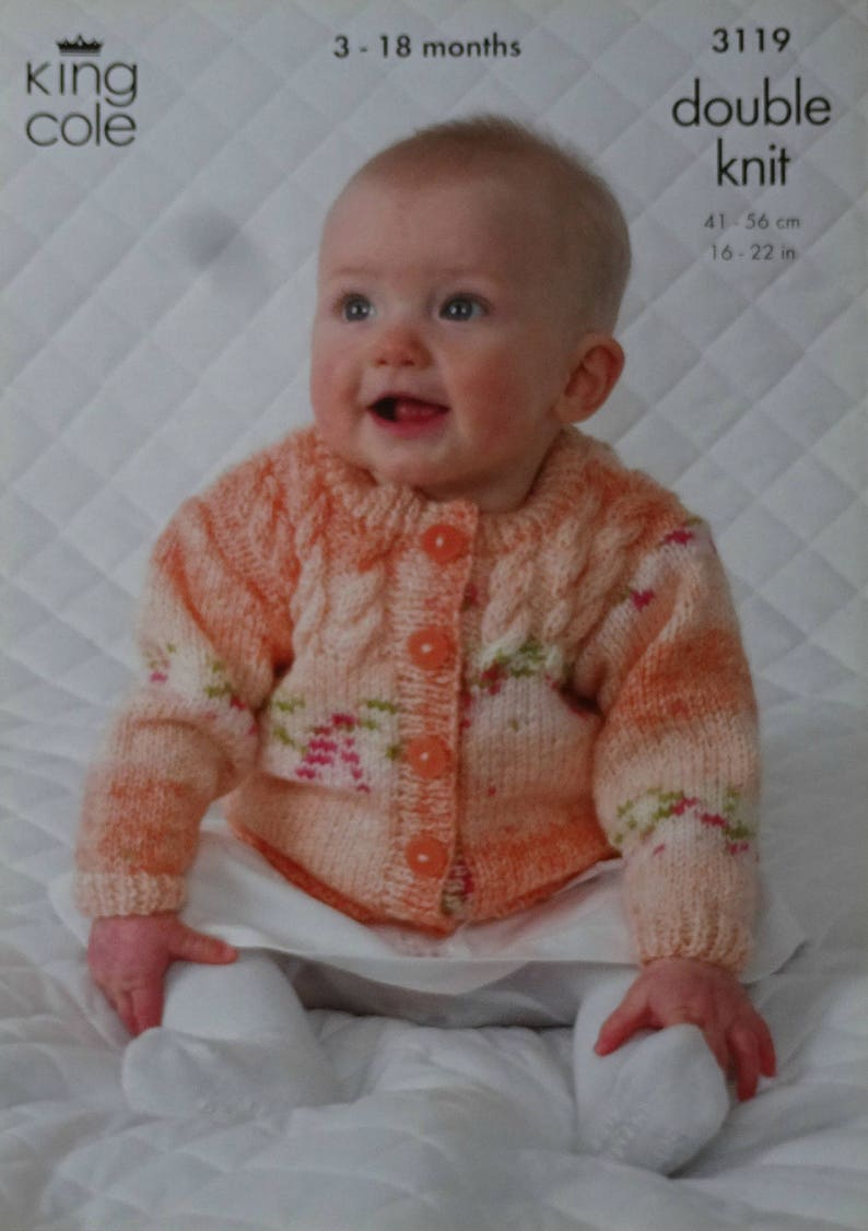 e996562cc581 Baby Knitting Pattern K3119 Babies Cable Cardigan Jumper