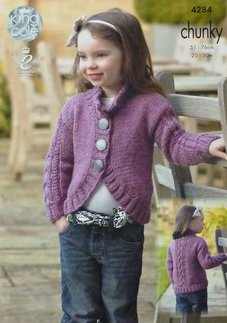 Girls Knitting Pattern K4284 Childrens Long Sleeve Bolero ...