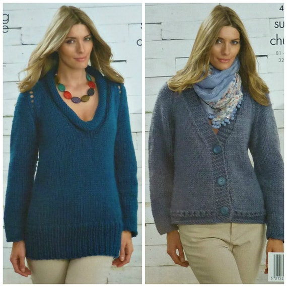 eac5e3c85 Womens Knitting Pattern K4065 Ladies Easy Knit Long Sleeve V