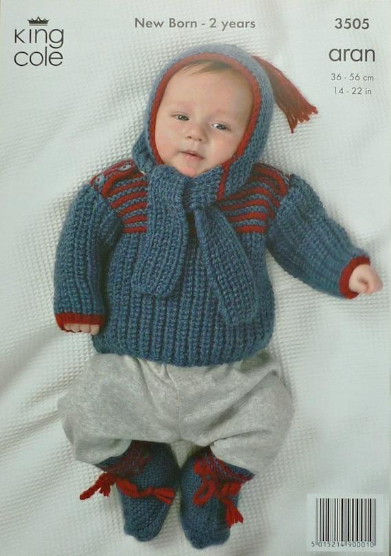 6fa20e913 Baby Knitting Pattern K3505 Babies Long Sleeve Jumper Bootees
