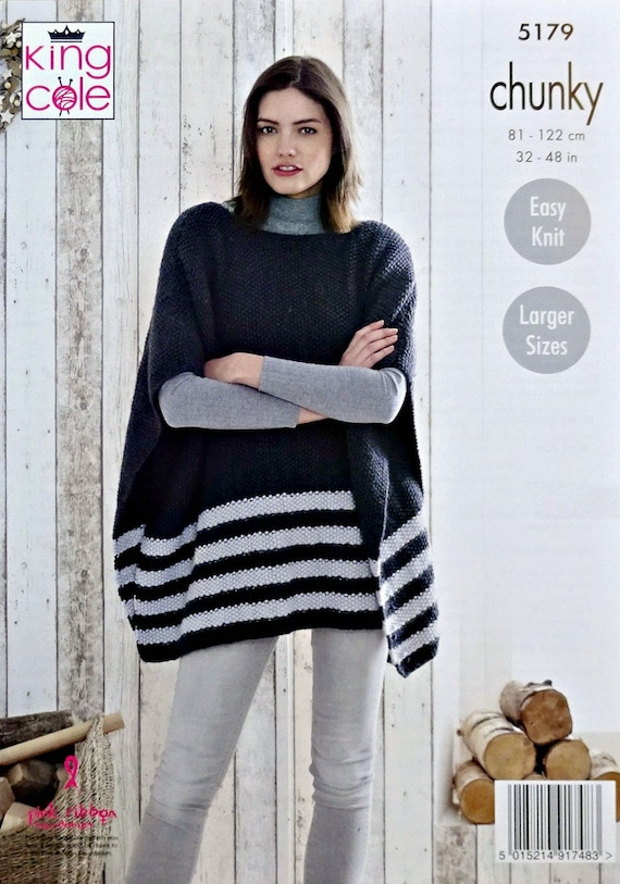 Easy Knit Boat or Cowl Neck Poncho Womens Chunky Knitting Pattern King Cole 5179