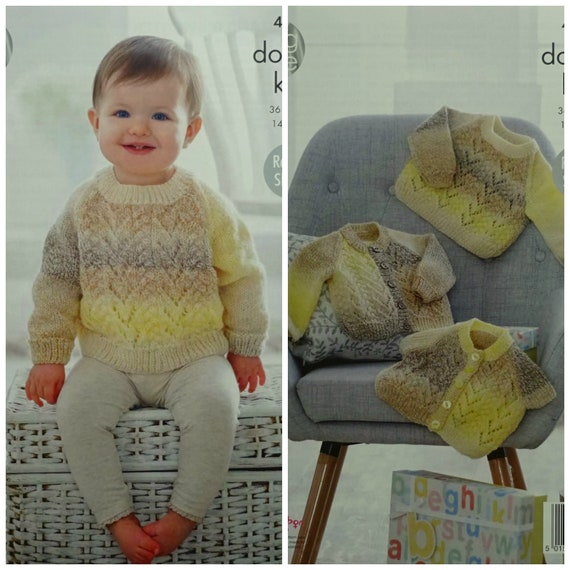 KNITTING PATTERN Baby Lacy Jumper and Cardigans DK King Cole 4917