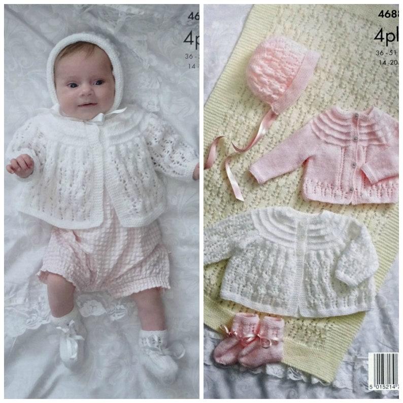 2ce8c9e3e3cc Baby Knitting Pattern K4688 Baby Blanket Cardigan Matinee