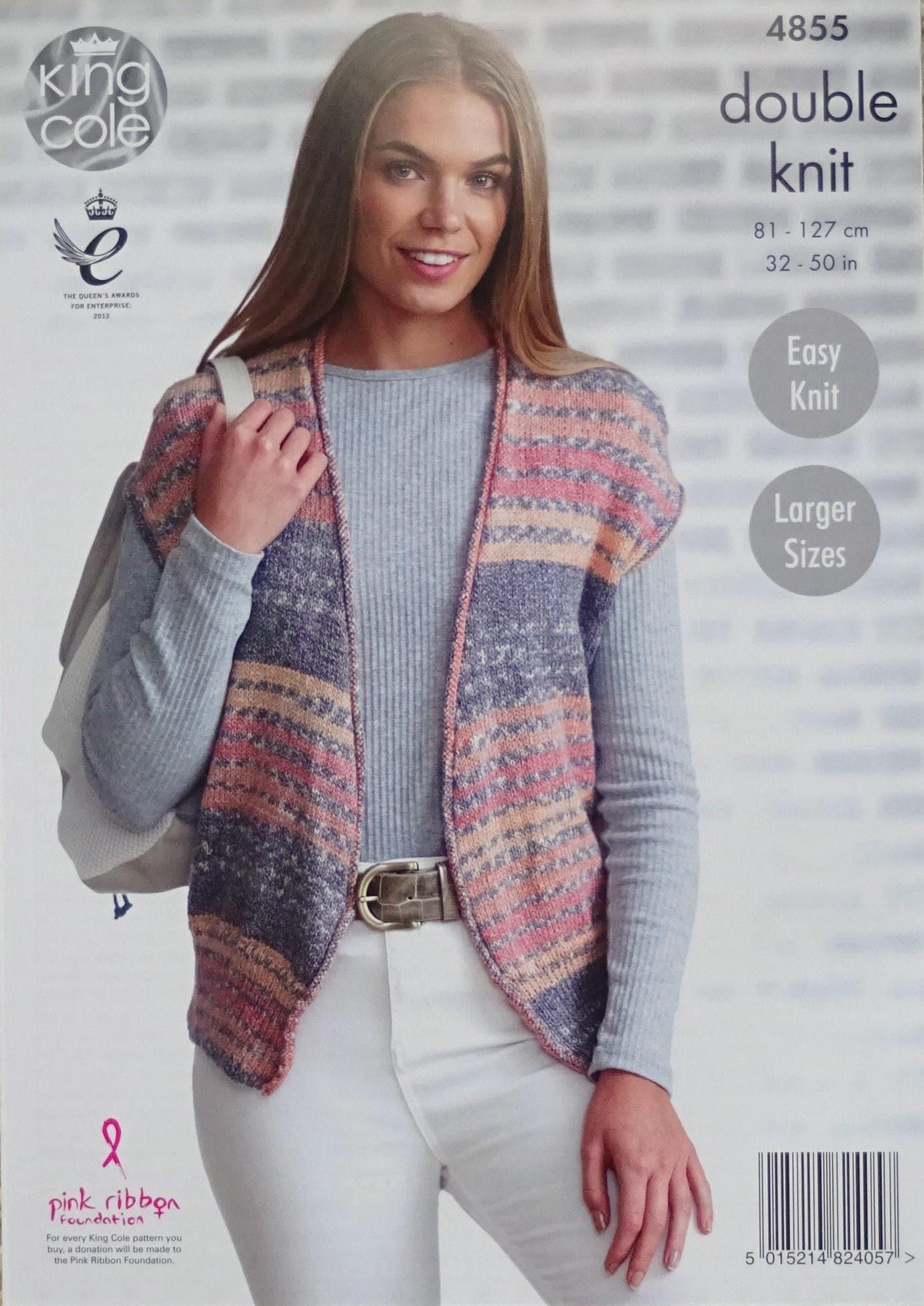 Womens Knitting Pattern K4855 Ladies Easy Knit V-Neck Sleeveless ...