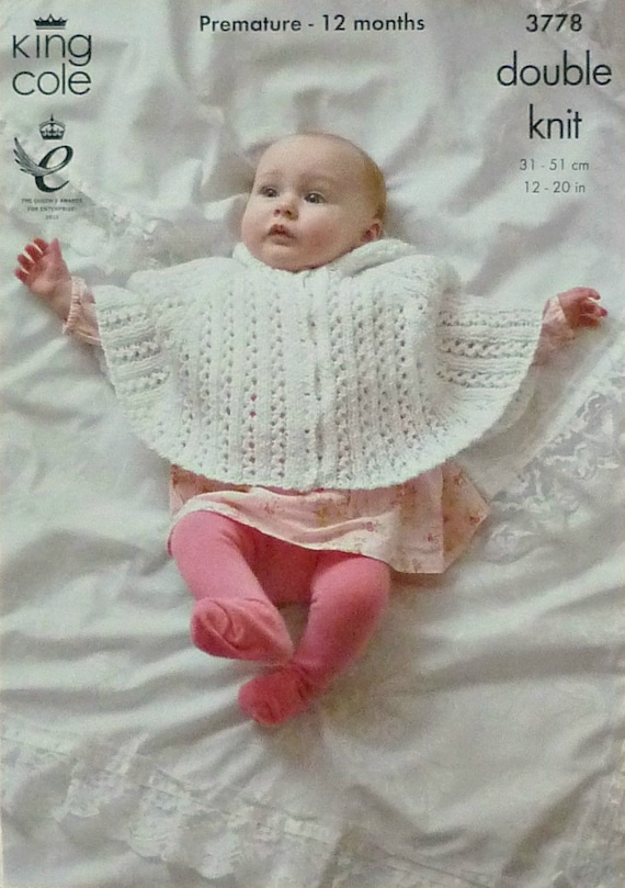Baby Knitting Pattern K3778 Babies Lacy Hooded Poncho Knitting Etsy