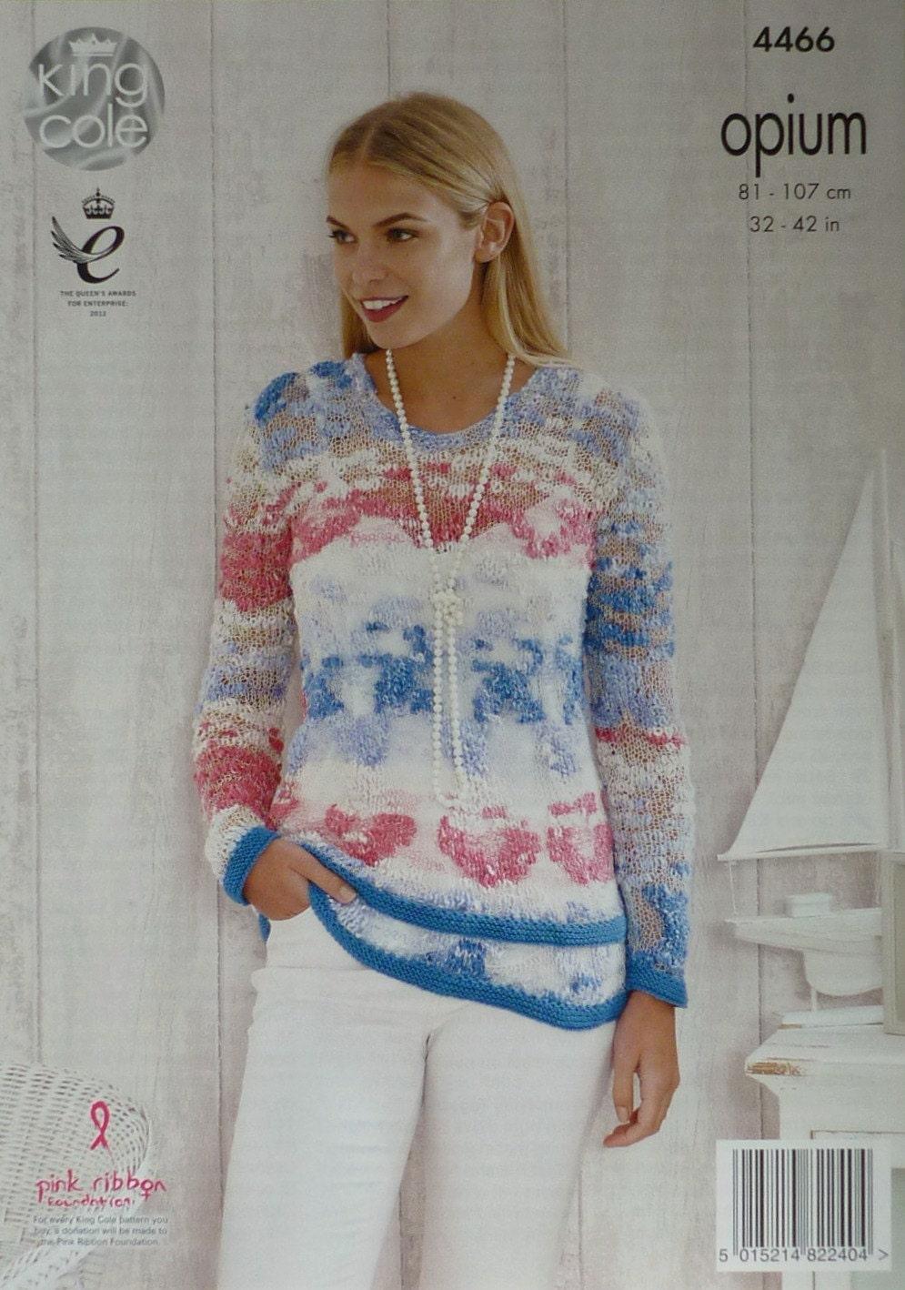 ae14f2776 Womens Knitting Pattern K4466 Ladies Long Sleeve Round Neck Frill ...