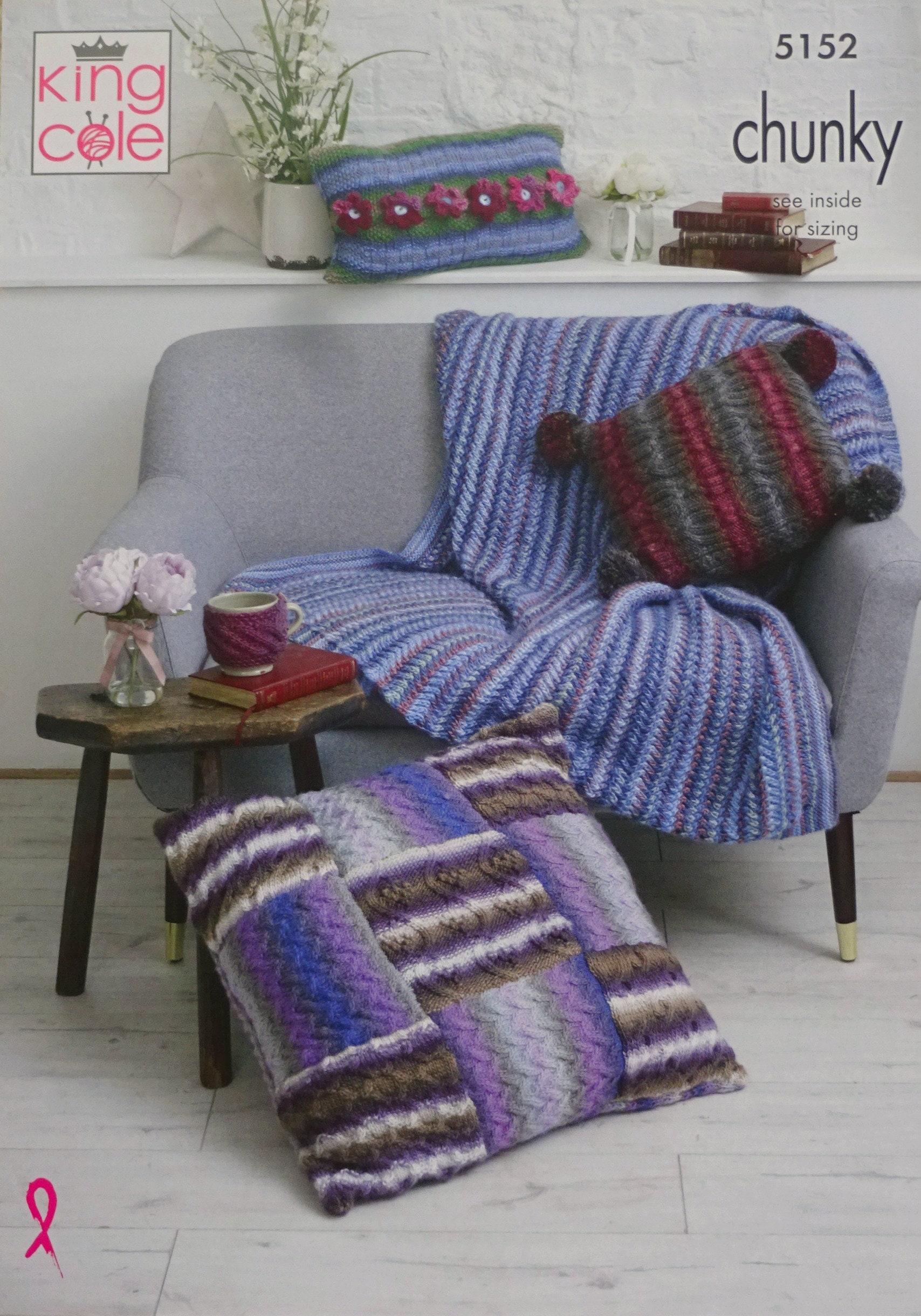 King Cole 5152 Throw Cushions /& Floor Cushion Chunky Knitting Pattern