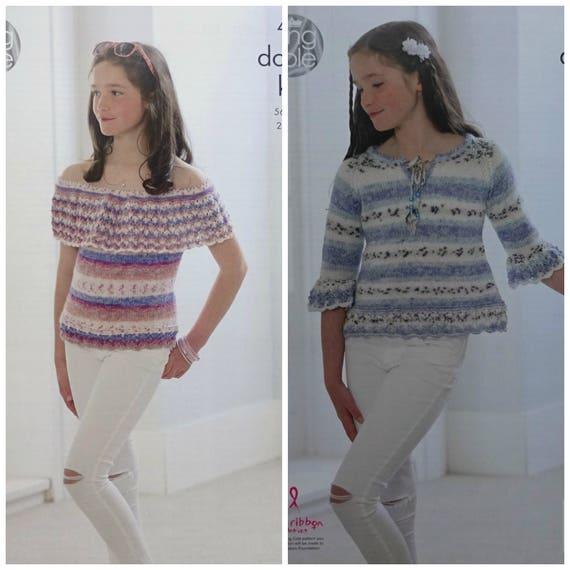 "King Cole 4954 Girls Tops DK Knitting Pattern Sizes 22-32/"""