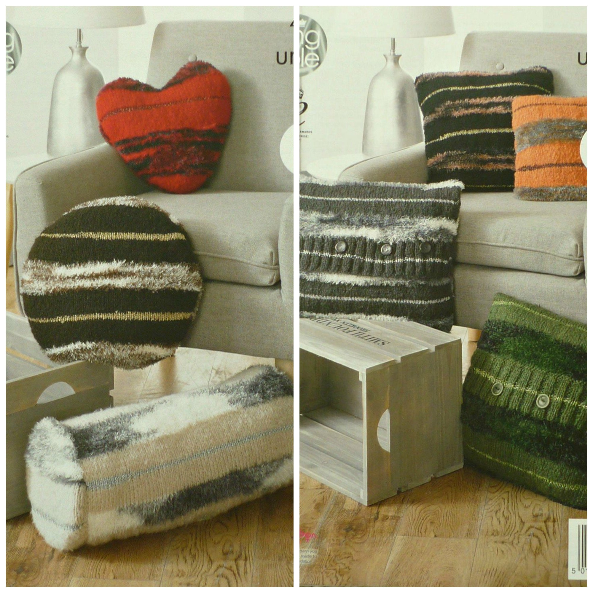 Cushion Knitting Pattern K4334 Heart Round Square Cushions