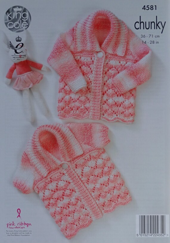 Baby KNITTING PATTERN Babies Lacy Cardigan /& Matinee Coat Chunky King Cole 4581
