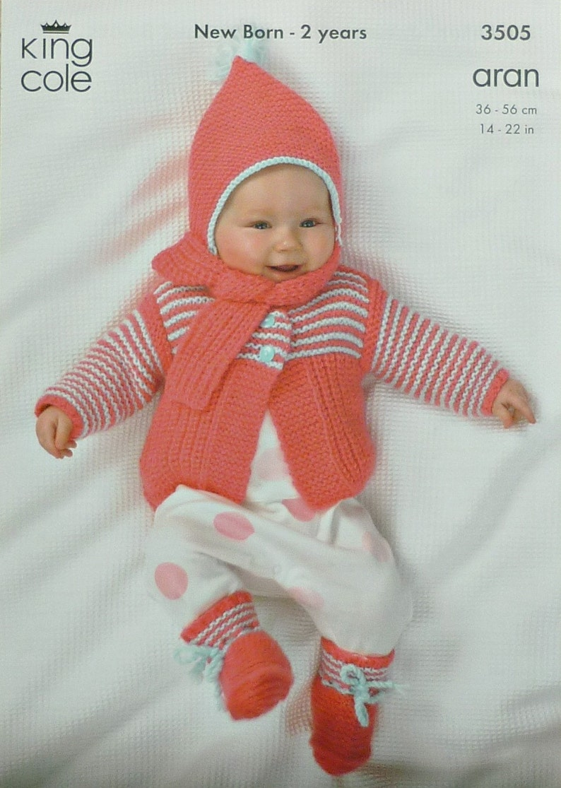 a0e01969a Baby Knitting Pattern K3505 Babies Long Sleeve Jacket Bootees