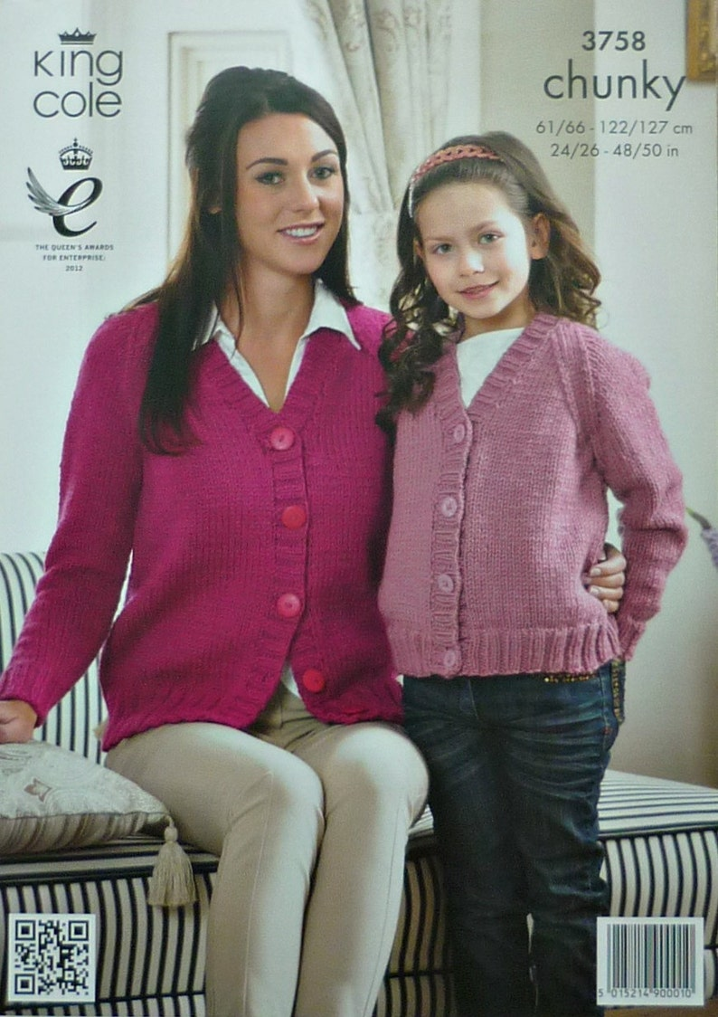 554482e75 Womens Knitting Pattern K3758 Girls Ladies Easy Knit Long