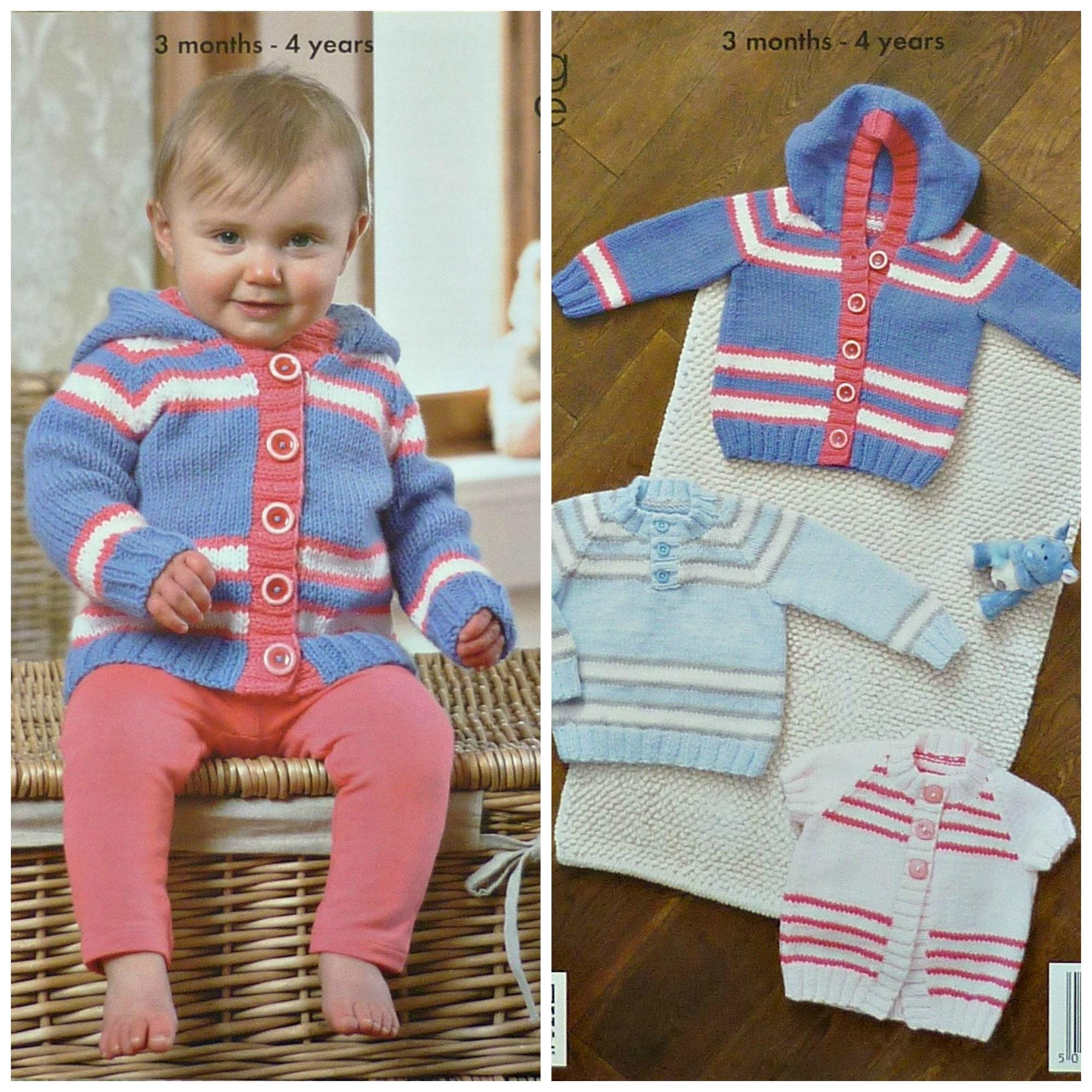 930f06d73 Baby Knitting Pattern K3725 Babies 2 Styles Striped Cardigan
