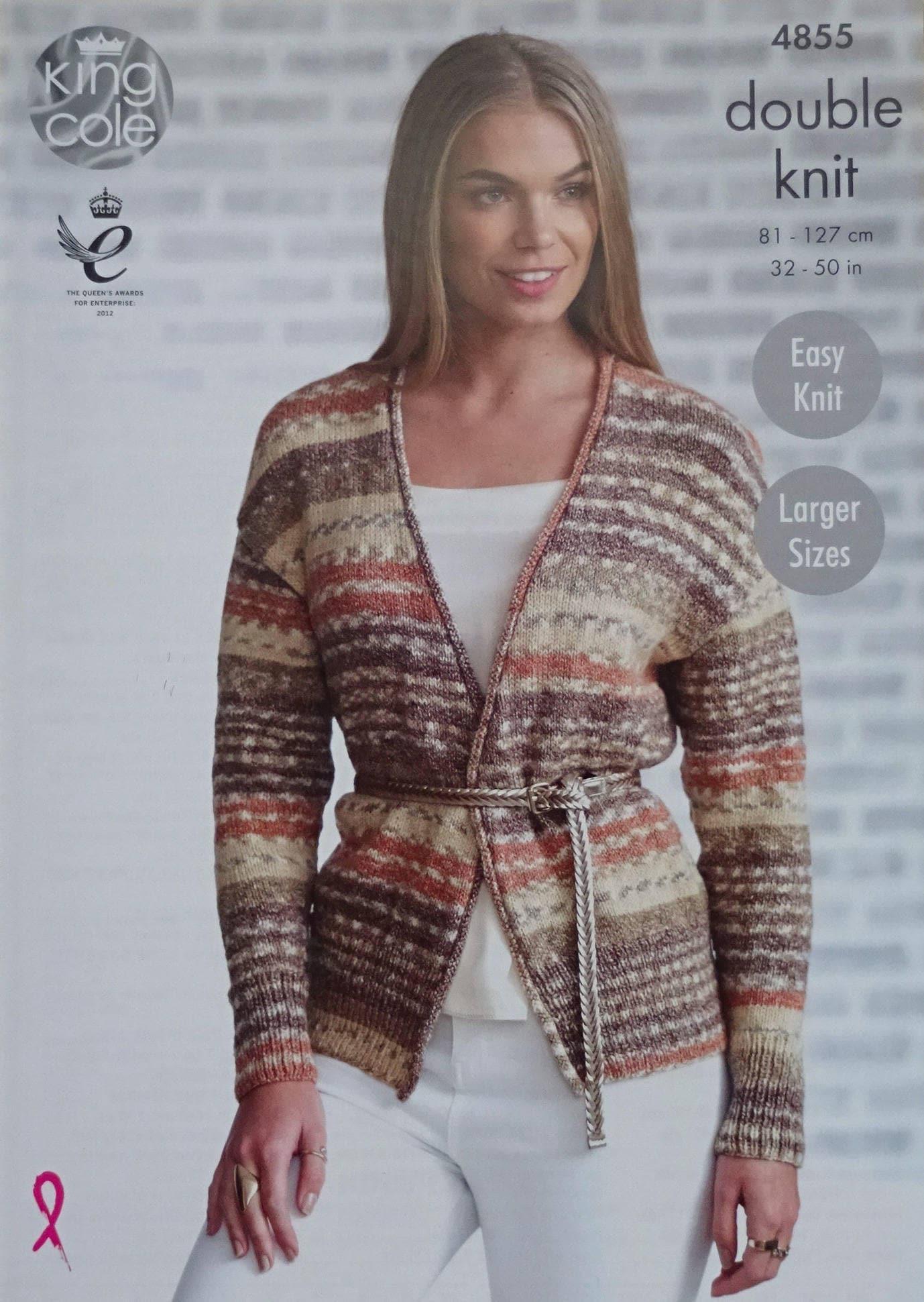 Womens Knitting Pattern K4855 Ladies Easy Knit V-Neck Long Sleeve ...