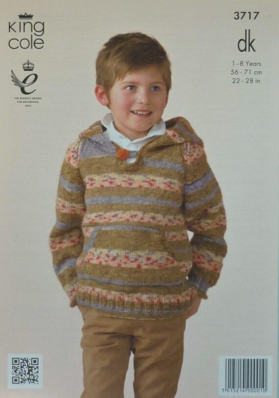 a6253f5c0 Boys Knitting Pattern K3717 Childrens Long Sleeve Hooded