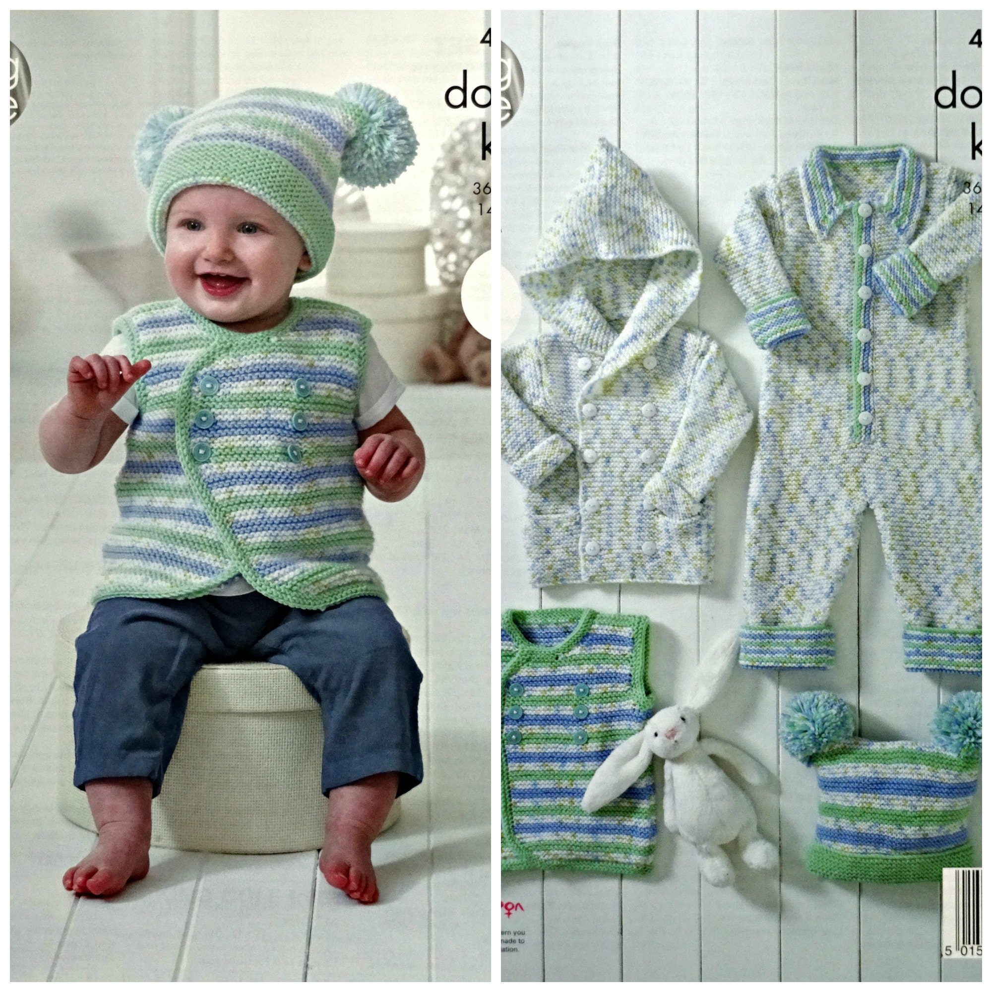Baby Knitting Pattern K4898 Baby\'s Hooded Coat, Waistcoat, All-In ...