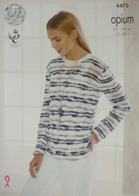 986d07efd ... King Cole $4.42 Womens Knitting Pattern K4475 Ladies Long Sleeve  Striped Round Neck Jumper Knitting Pattern Opium Aran (