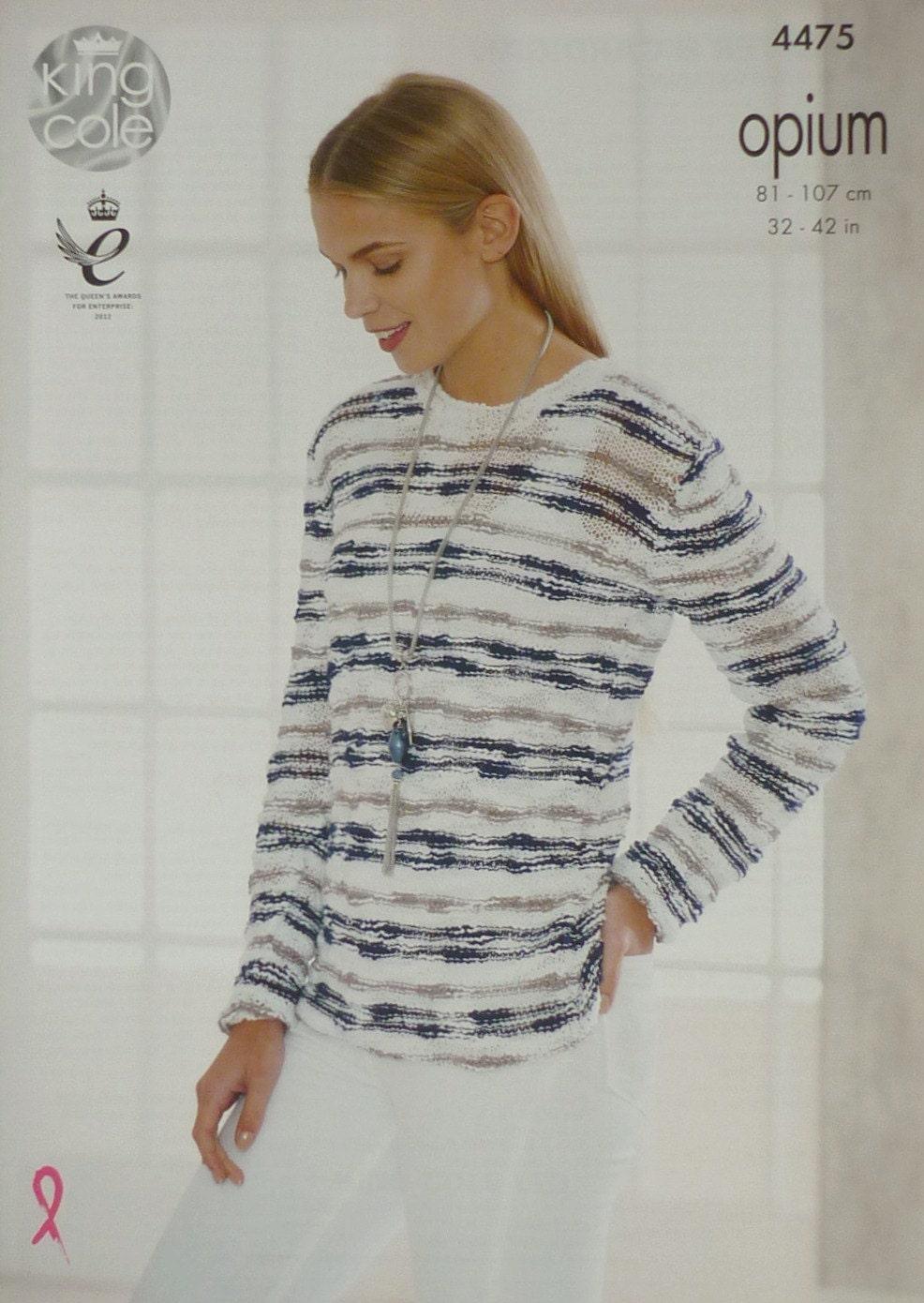 83dc740e7 Womens Knitting Pattern K4475 Ladies Long Sleeve Striped Round ...