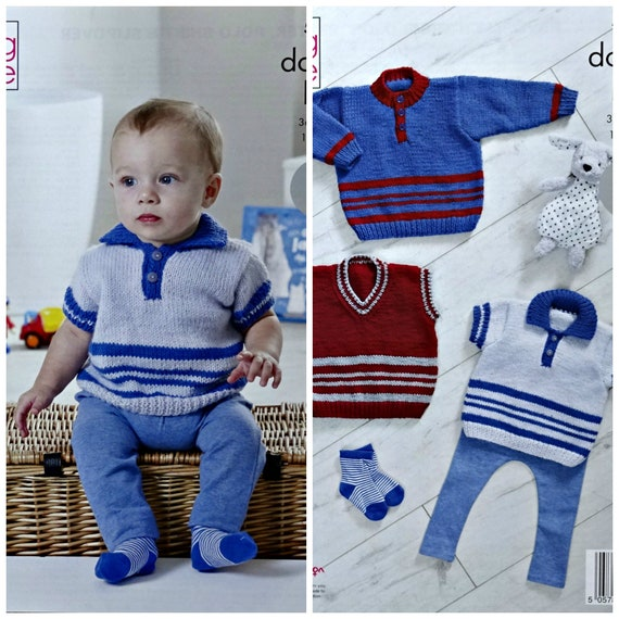 Easy Knit Jumper Polo Shirt Slipover Baby Double Knitting Pattern King Cole 5353