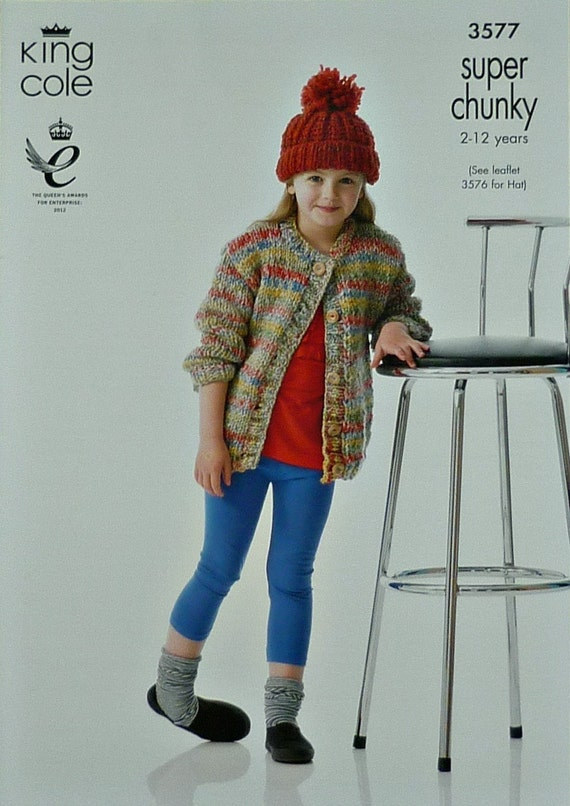 099b0b3b7 Girls Knitting Pattern K3577 Childrens Long Sleeve Round Neck