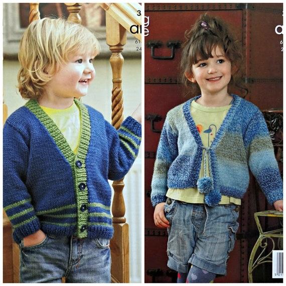 b5adcb104 Boys Girls Knitting Pattern K3341 Childrens Long Sleeve V-Neck
