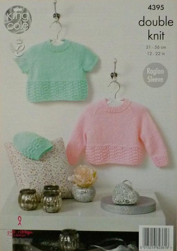 King Cole 4395 Knitting Pattern Jumper Top Hat Baby Glitz DK