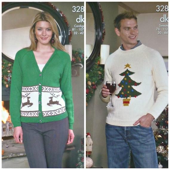 Mens Xmas Pullover stricken Muster K3284 Damen Mens Strickjacke Pullover Weihnachten Weihnachtsbaum stricken Muster DK (leichte Kammgarn) King Cole