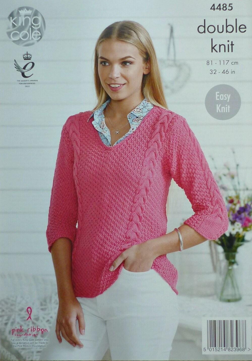 Womens Knitting Pattern K4485 Ladies Easy Knit 3/4 Sleeve V-Neck ...
