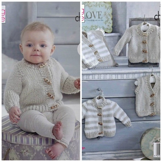 6a7f7cd781c0c ... Baby Knitting Pattern K5236 Babies Easy Knit Round Neck Cardigan and  Waistcoat in Solid or Stripes