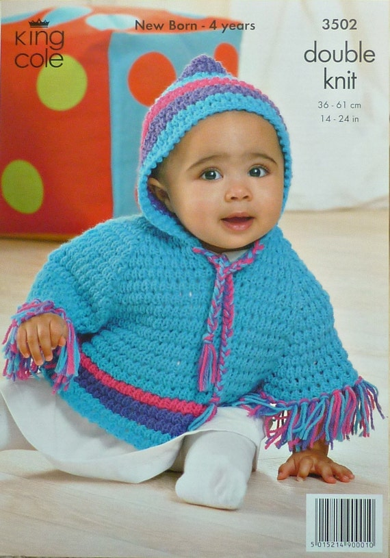 1d748bbf1 Baby Knitting Pattern K3502 Babies Toddlers Hooded Poncho
