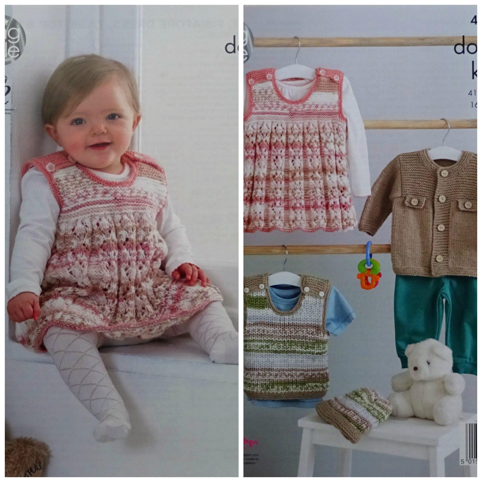 Baby Knitting Pattern K4804 Babys Pinafore Dress Jacket Tank Top