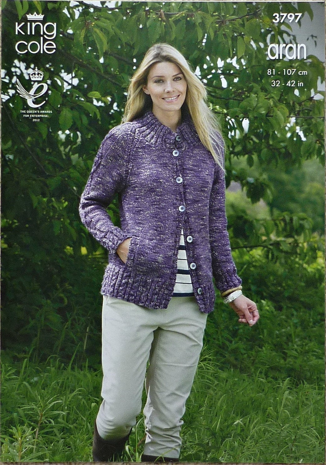 848549b0677507 Womens Knitting Pattern K3797 Ladies Long Sleeve Jacket with ...