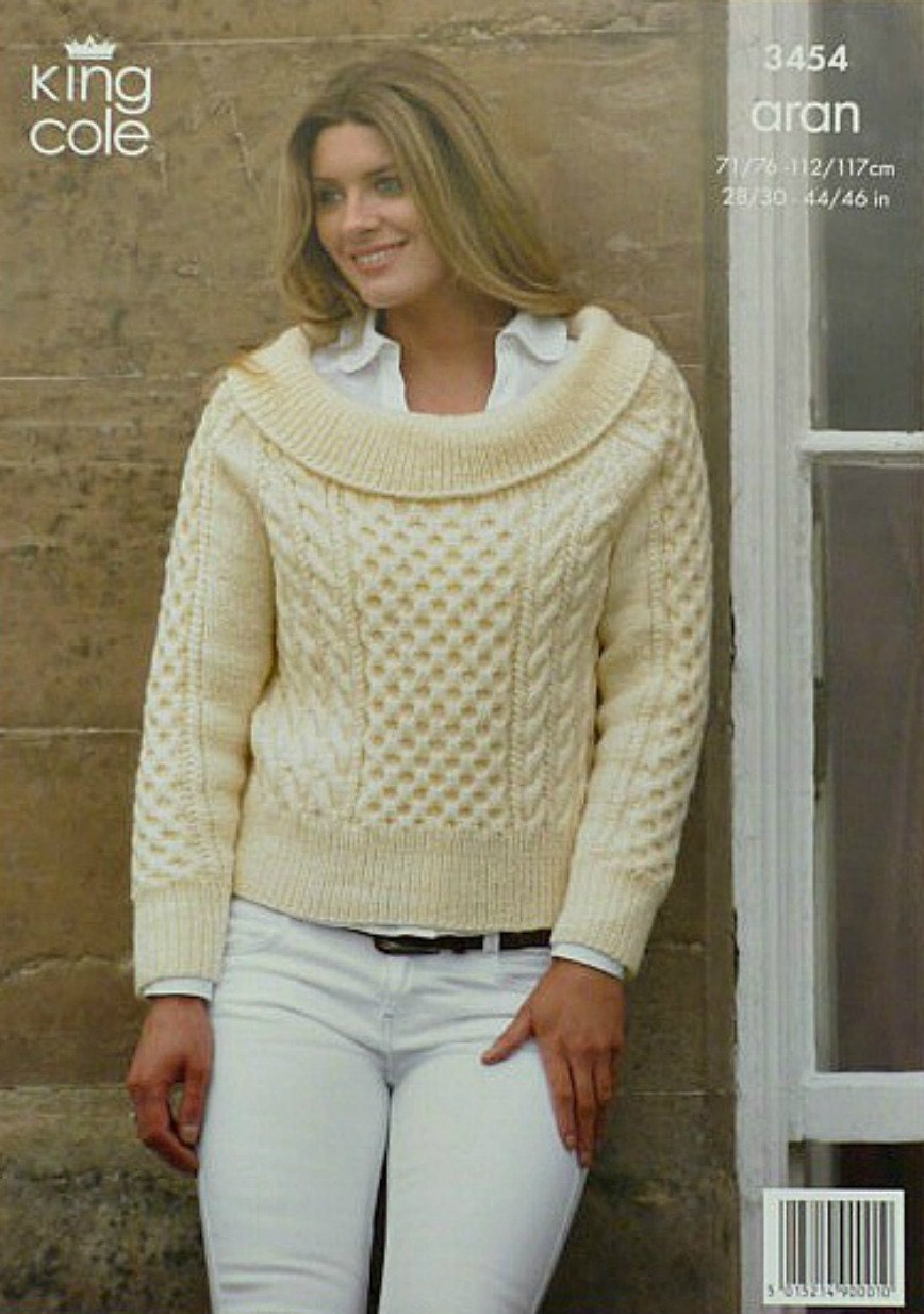 Womens Knitting Pattern K3454 Ladies Long Sleeve Boat-Neck Jumper ...