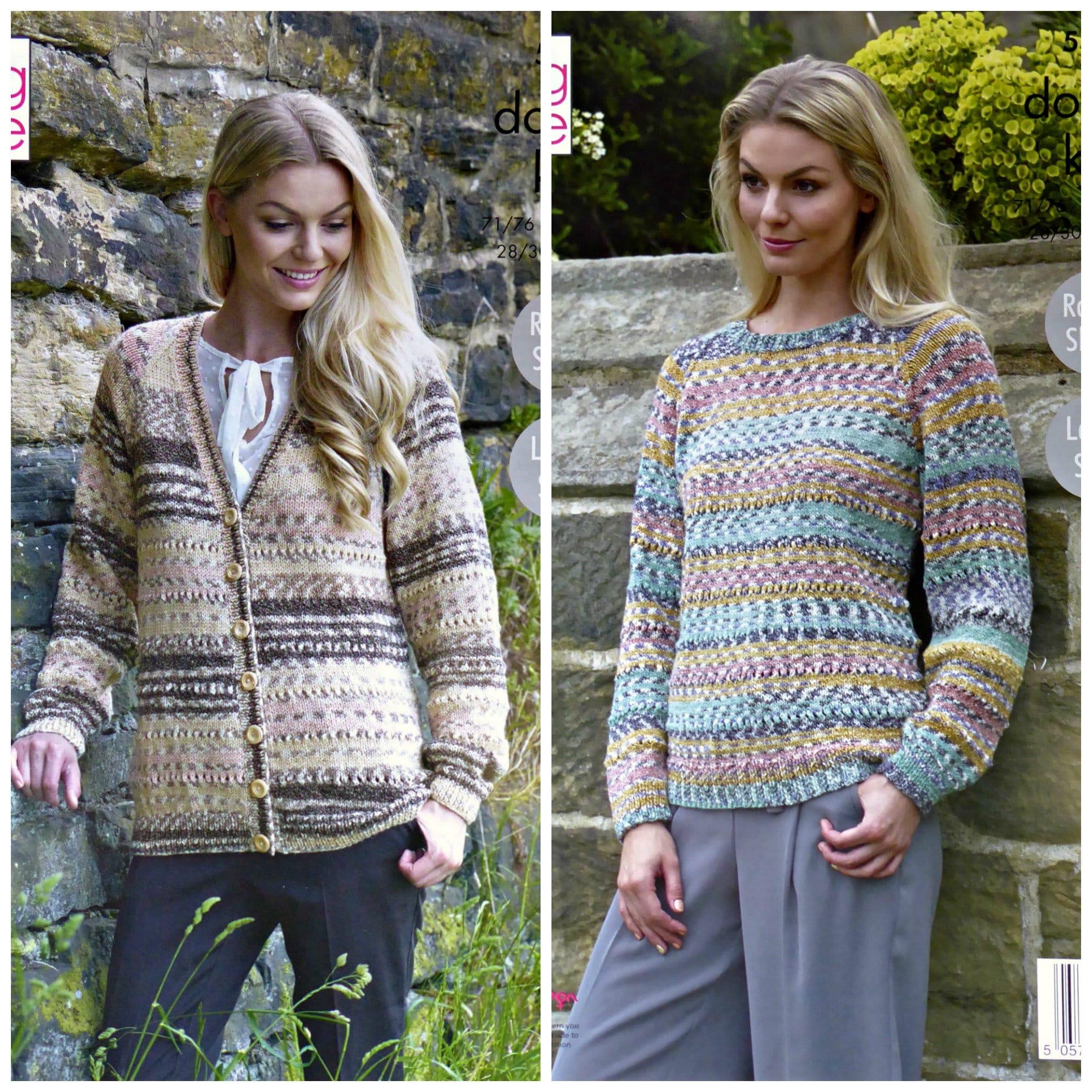 ea59d3af1 Womens Knitting Pattern K5304 Ladies Easy Knit Long Sleeve V-Neck ...