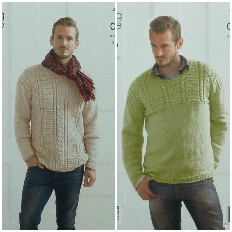 4a68e7d7e643 Mens Knitting Pattern K4144 Mens Long Sleeve Round Neck