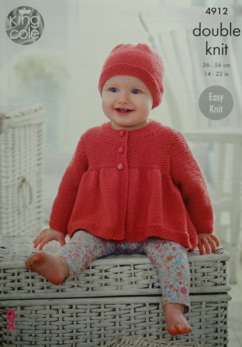 2c68d77a0c19 Baby Knitting Pattern K4912 Baby s Easy Knit Smock Coat